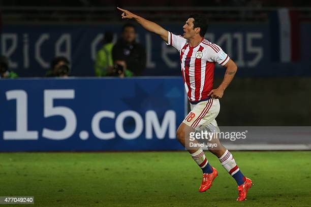 Nelson Haedo Valdez of Paraguay celebrates after scoring the first goal of his team during the 2015 Copa America Chile Group B match between...
