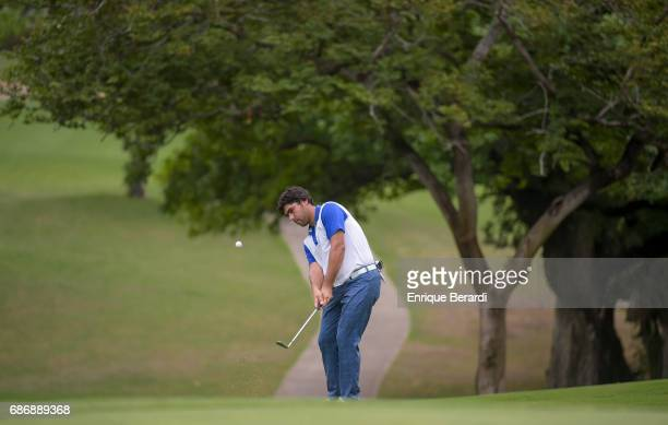 Nelson Ledesma of Argentina chips onto the fifth hole during the second round of the PGA TOUR Latinoamerica Essential Costa Rica Classic at Reserva...