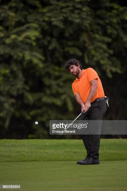 Nelson Ledesma of Argentina chips up to the 18th green during the final round of the PGA TOUR Latinoamérica Flor de Cana Open at Mukul Beach Golf and...