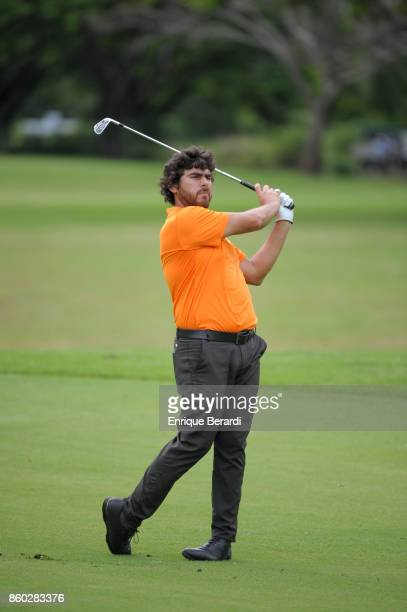 Nelson Ledesma of Argentina hits from the 10th hole during the final round of the PGA TOUR Latinoamérica Flor de Cana Open at Mukul Beach Golf and...