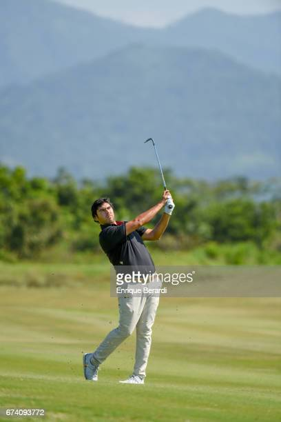 Nelson Ledesma of Argentina hits from the ninth fairway during the third round of the PGA TOUR Latinoamérica Honduras Open presented by Indura Golf...