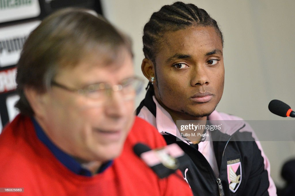 Nelson (R) looks on as Palermo CEO Pietro Lo Monaco answers questions during his presentation as a new player of Palermo at Tenente Carmelo Onorato Sports Center on January 29, 2013 in Palermo, Italy.