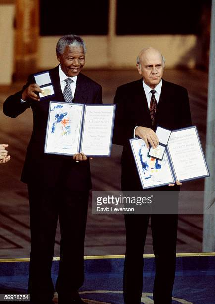 Nelson Mandela and FW de Klerk the South African President receive the Nobel Peace Prize at City Hall in Oslo Norway on December 10 1993