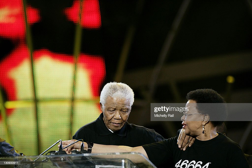 <a gi-track='captionPersonalityLinkClicked' href=/galleries/search?phrase=Nelson+Mandela&family=editorial&specificpeople=118613 ng-click='$event.stopPropagation()'>Nelson Mandela</a> and Graca Machel host the 46664 World AIDS Day Concert at Ellis Park Stadium in Johannesburg - South Africa, December 1, 2007