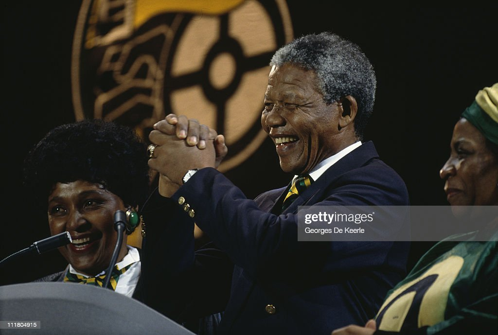 Nelson Mandela and his wife Winnie (left) attend a concert at Wembley Stadium to celebrate his release from prison, 16th April 1990.
