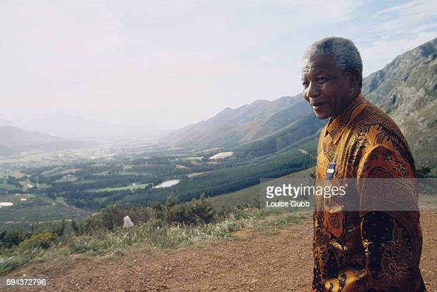 Nelson Mandela at Franschoek Pass his favorite viewpoint Former President of South Africa and longtime political prisoner Nelson Mandela was held by...