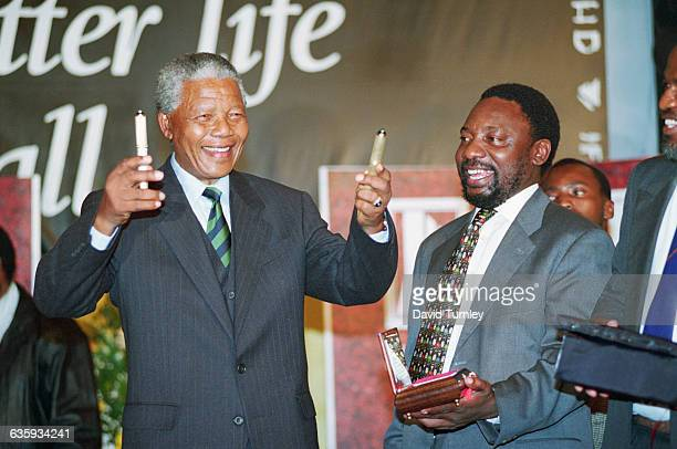Nelson Mandela Celebrates His Victory