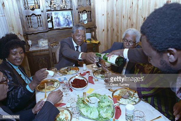Nelson Mandela Celebrating His Release