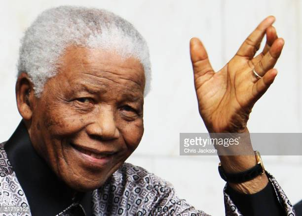 Nelson Mandela leaves the InterContinental Hotel after a photoshoot with celebrity photographer Terry O'Neil on June 26 2008 in London England...