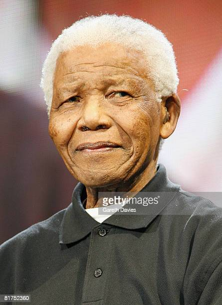 Nelson Mandela onstage during the 46664 Concert In Celebration Of Nelson Mandela's Life held at Hyde Park on June 27 2008 in London England