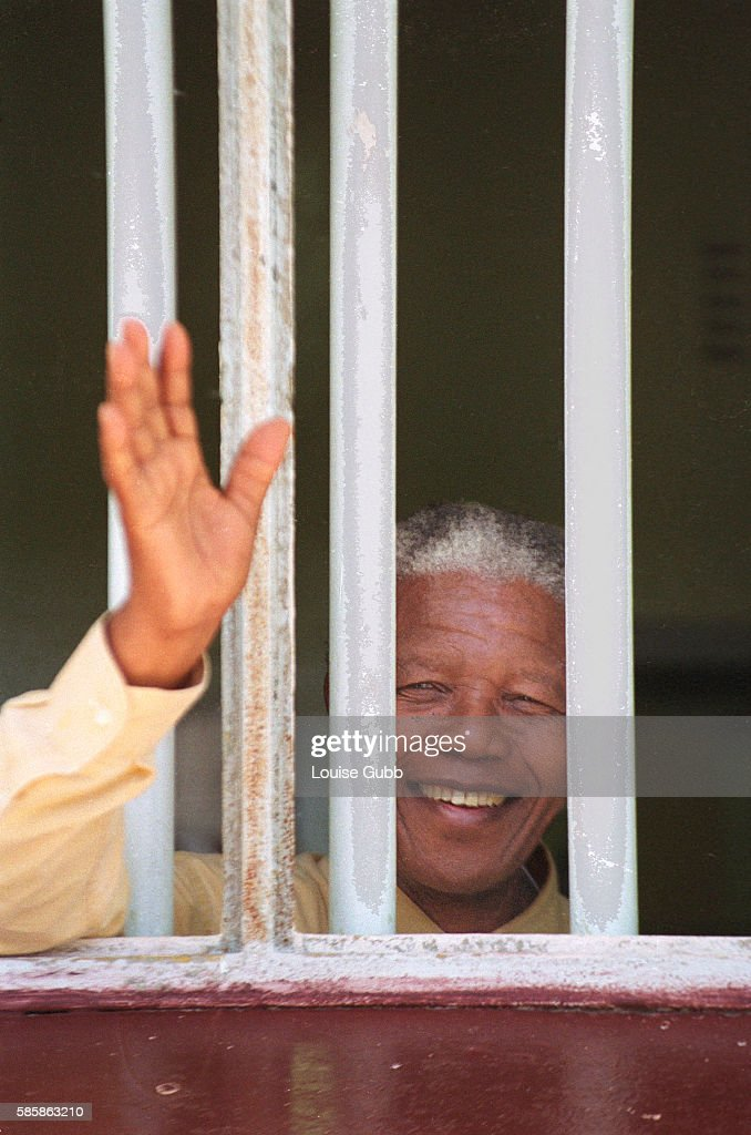 Nelson Mandela revisited the cell at Robben Island prison in 1994, where he was jailed for more than two decades. Currently, his optimistically brightly colored pastel lithographs of his cell and cell window have sold well to enthusiastic bidders at 'Touch of Mandela' auctions internationally. All proceeds go to the Nelson Mandela Trust, in support of his charitable causes. | Location: Robben Island near Capetown, South Africa.