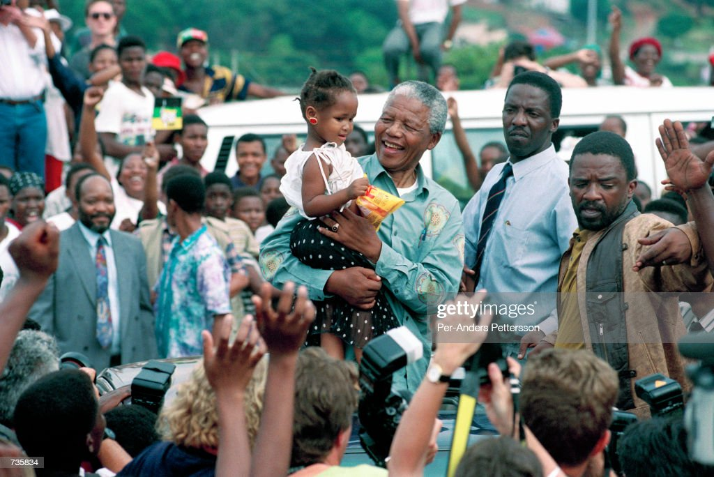 <a gi-track='captionPersonalityLinkClicked' href=/galleries/search?phrase=Nelson+Mandela&family=editorial&specificpeople=118613 ng-click='$event.stopPropagation()'>Nelson Mandela</a>, the former president of South Africa on April 21, 1994 at a pre-election rally in Durban days before the historic democratic election on April 27, 1994 in South Africa. Mr Mandela became the first black democratic elected president in South Africa. He retired from office after one term in June 1999.