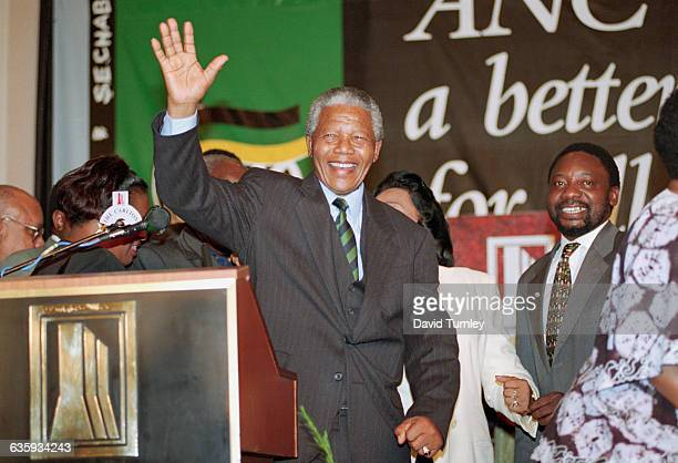 Nelson Mandela Waving to the Crowd