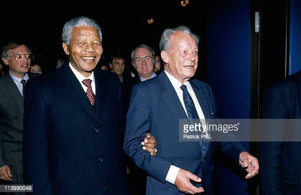 Nelson Mandela's visit in Bonn Germany on June 12 1990With Willy Brandt
