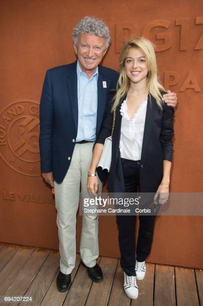Nelson Monfort and his daughter Victoria Monfort attend the French Tennis Open 2017 Day Thirteen at Roland Garros on June 9 2017 in Paris France