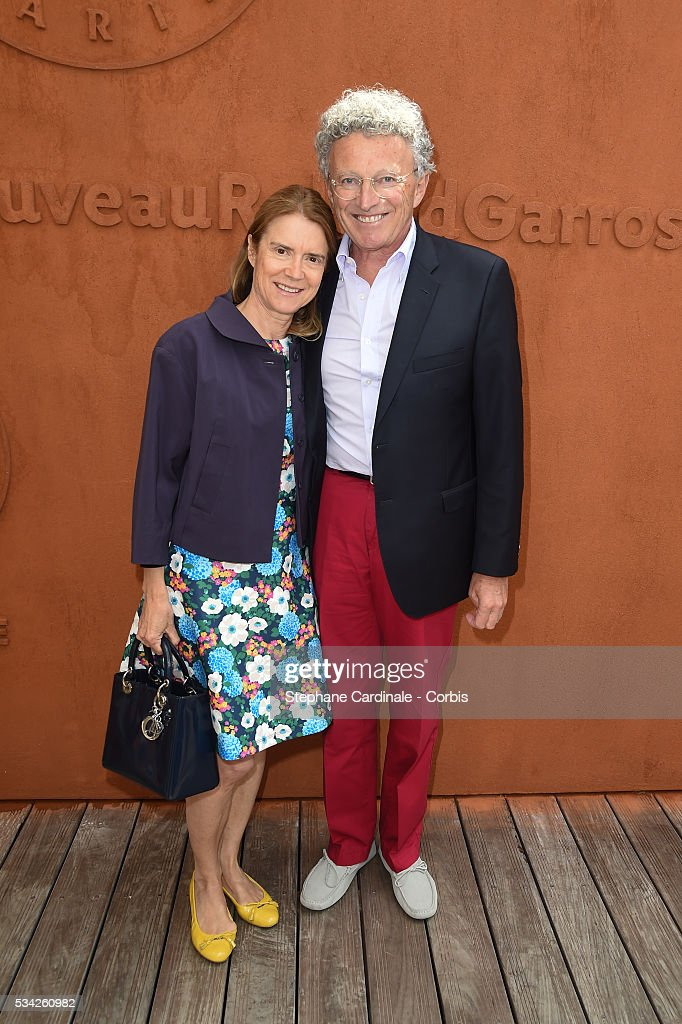 Nelson Monfort and his wife Dominique attend the day four of the 2016 French Open at Roland Garros on May 25, 2016 in Paris, France.