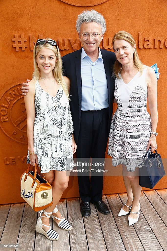 Nelson Montfort, his daughter Victoria and his wife Dominique attend The French Tennis Open Day Seven at Roland Garros on May 28, 2016 in Paris, France.