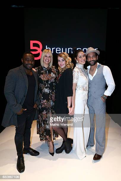 Nelson Mueller Monica Ivancan Amelie Klever Rebecca Mir and Massimato Sinato attend the Breuninger after party during Platform Fashion January 2017...