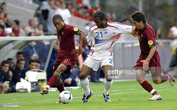 Nelson of Portugal and Florent SinamaPongolle of France during the UEFA European Under21 Championship match in Braga Portugal on May 23 2006 France...