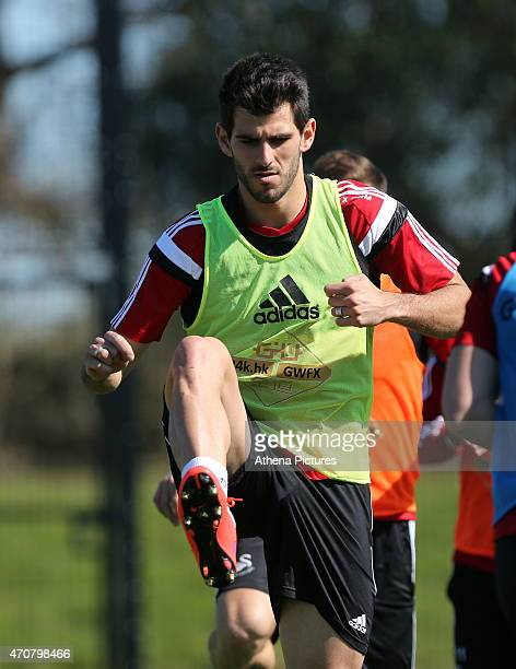 Nelson Oliveira in action during the Swansea City Training Session at Fairwood Training Centre on April 22 2015 in Swansea Wales