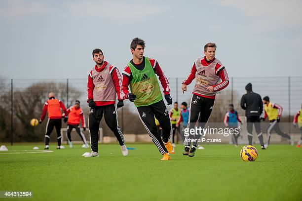 Nelson Oliveira in action during the Swansea City training session on February 24 2015 in Swansea Wales