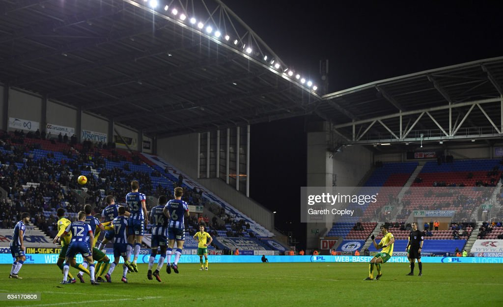 Nelson Oliveira of Norwich attempts a free kick during the Sky Bet Championship match between Wigan Athletic and Norwich City at DW Stadium on February 7, 2017 in Wigan, England.