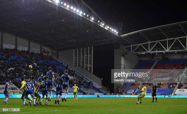 Nelson Oliveira of Norwich attempts a free kick during the Sky Bet Championship match between Wigan Athletic and Norwich City at DW Stadium on...