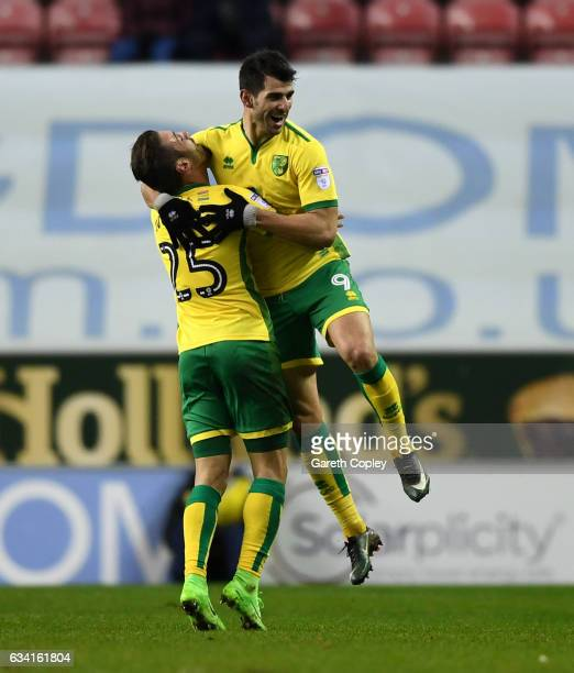 Nelson Oliveira of Norwich celebrates opening the scoring during the Sky Bet Championship match between Wigan Athletic and Norwich City at DW Stadium...