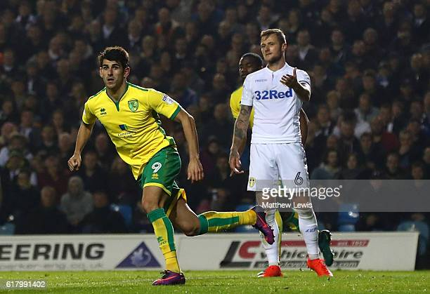 Nelson Oliveira of Norwich City celebrates scoring his sides second goal during the EFL Cup fourth round match between Leeds United and Norwich City...