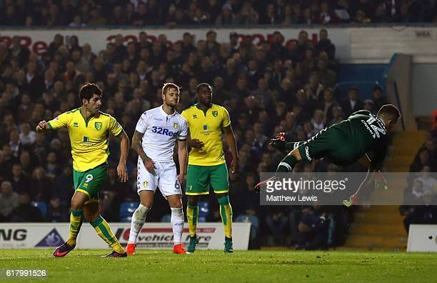 Nelson Oliveira of Norwich City scores his sides second goal during the EFL Cup fourth round match between Leeds United and Norwich City at Elland...