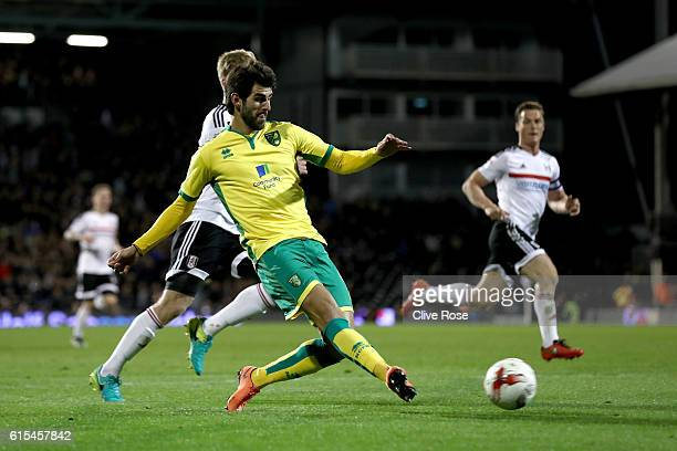 Nelson Oliveira of Norwich shoots at goal during the Sky Bet Championship match between Fulham and Norwich City at Craven Cottage on October 18 2016...