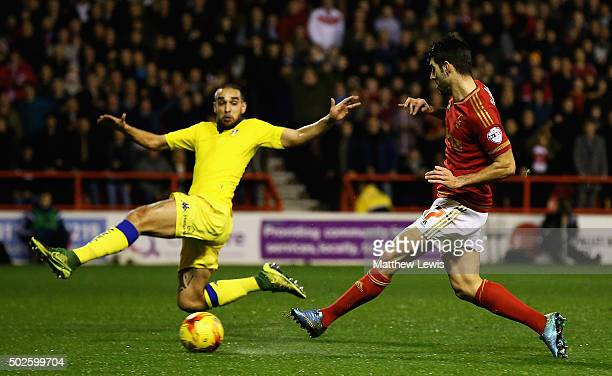 Nelson Oliveira of Nottingham Forest scores a goal during the Sky Bet Championship match between Nottingham Forest and Leeds United on December 27...
