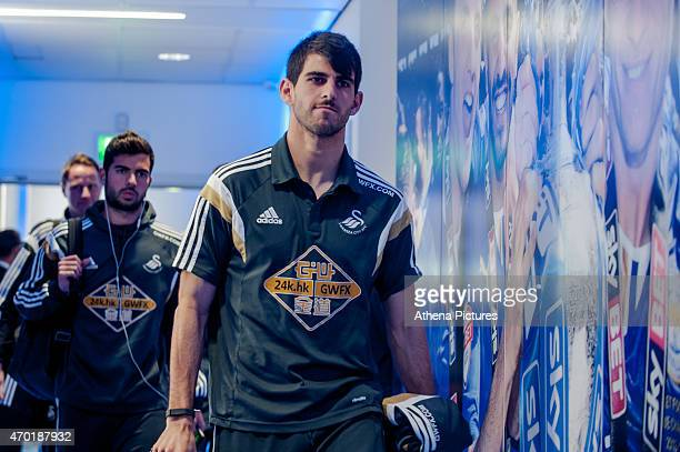Nelson Oliveira of Swansea City arrives at the King Power Stadium prior to the Premier League match between Leicester City and Swansea City at The...