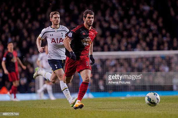 Nelson Oliveira of Swansea City chases the ball during the Premier League match between Tottenham Hotspur and Swansea City at White Hart Lane on...