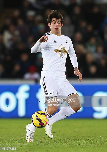 Nelson Oliveira of Swansea City in action during the Barclays Premier League match between Swansea City and West Ham United at Liberty Stadium on...