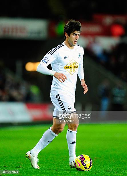 Nelson Oliveira of Swansea in action during the Barclays Premier League match between Swansea City and West Ham United at Liberty Stadium on January...