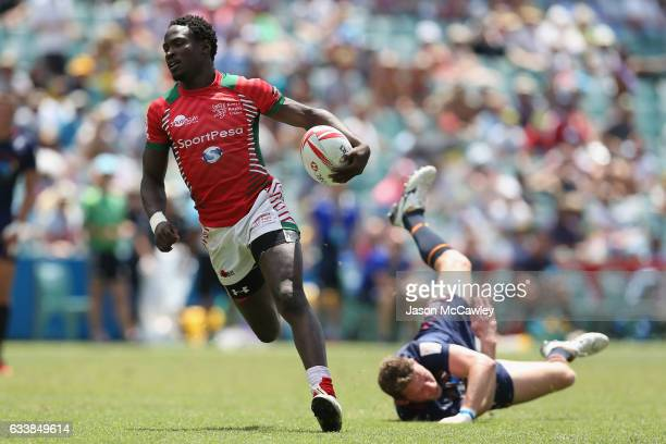 Nelson Oyoo of Kenya makes a break during the 13th place semi final match between Kenya and Scotland in the 2017 HSBC Sydney Sevens at Allianz...