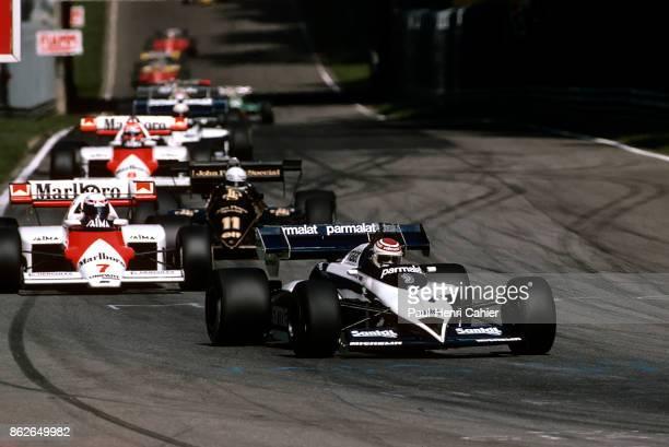 Nelson Piquet Alain Prost Elio de Angelis Niki Lauda BrabhamBMW BT53 McLarenTag/Porsche MP4/2 LotusRenault 95T Grand Prix of Italy Autodromo...