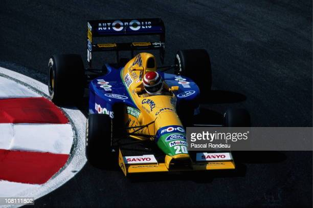 Nelson Piquet drives the Camel Benetton Ford B191 Ford HB 35 V8 during practice for the French Grand Prix on 6th July 1991at the Circuit de Nevers...