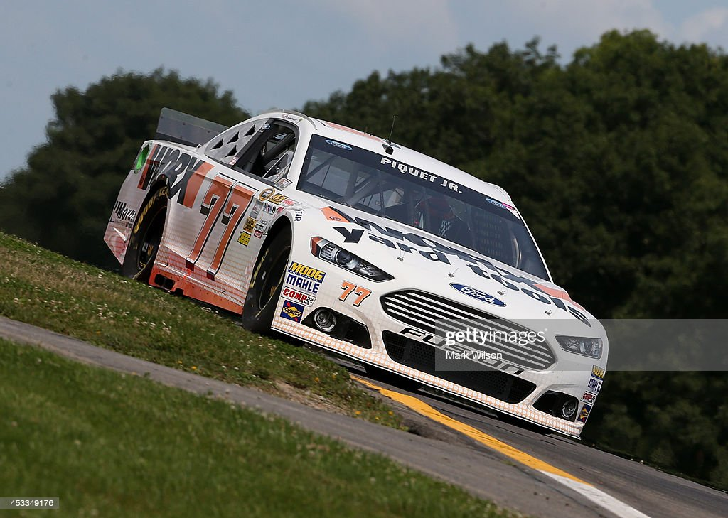 Nelson Piquet Jr driver of the WORX Ford practices for the NASCAR Sprint Cup Series CheezIt 355 at Watkins Glen International on August 8 2014 in...