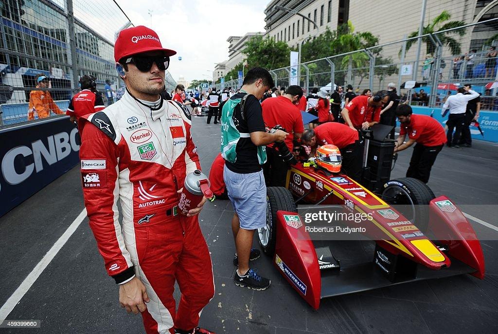 Nelson Piquet Jr of Brazil and China Racing Formula E Team prepares at the starting grid during the FIA Formula E Putrajaya ePrix Championship race...