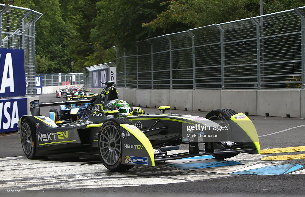 Nelson Piquet Jr of team Nextev TCR in action during the FIA Formula E Visa championship ePrix at battersea park on June 27 2015 in London England