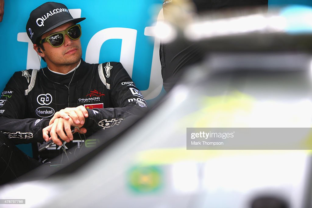 Nelson Piquet Jr of team Nextev TCR on the grid prior to the FIA Formula E Visa championship ePrix at battersea park on June 27 2015 in London England