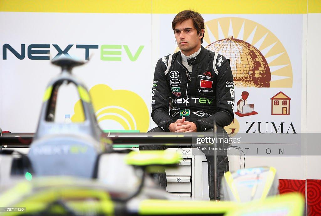 Nelson Piquet Jr of team Nextev TCR prepares to drive during the FIA Formula E Visa championship ePrix at battersea park on June 27 2015 in London...