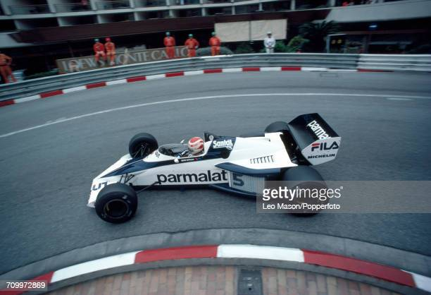 Nelson Piquet of Brazil enroute to second place driving a Brabham BT52 with a BMW S4 engine for the Fila Sport Team during the Monaco Grand Prix on...