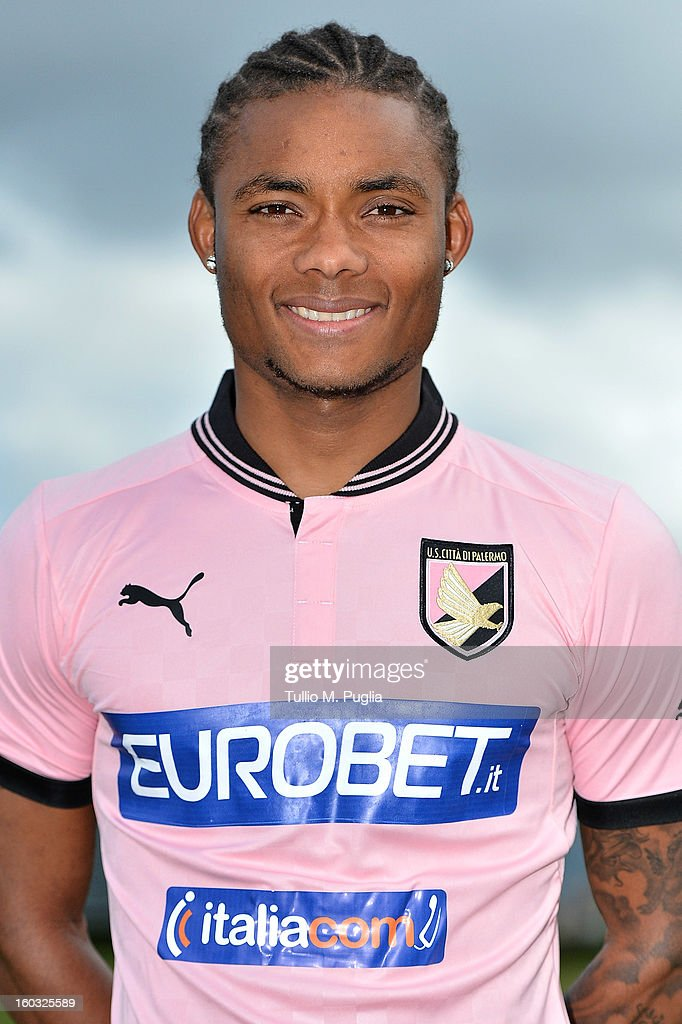 Nelson poses for the team's official headshots during his presentation as new player of Palermo at Tenente Carmelo Onorato Sports Center on January 29, 2013 in Palermo, Italy.