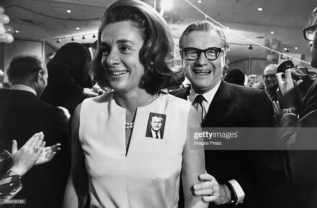 Nelson Rockefeller and wife Happy at a political rally circa 1970 in New York City.