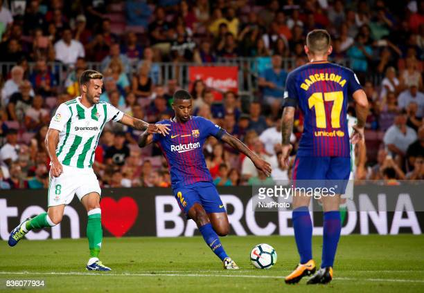 Nelson Semedo and Camarasa during La Liga match between FC Barcelona v Real Betis Balompie in Barcelona on August 20 2017 hoto Joan...