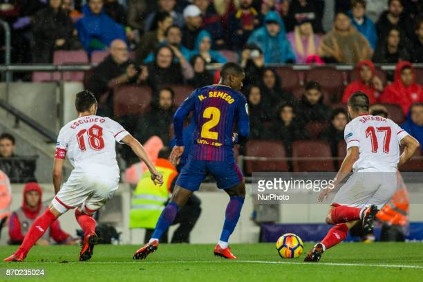 Nelson Semedo form Portugal of FC Barcelona during the La Liga match between FC Barcelona v Sevilla at Camp Nou Stadium on November 04 2017 in...