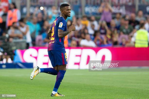 02 Nelson Semedo from Brasil of FC Barcelona during the team presentation after the Joan Gamper trophy match between FC Barcelona vs Chapecoense at...
